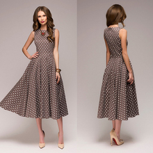 купить Women Dress Sleeveless Vintage Fit and Flare 2019 Summer Dress Dot Print Elegant Ladies Dresses Women Fashion Party Vestidos H30 дешево