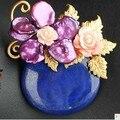 Lapis Flor Broche Pin Pingente de Pérola de Água Doce Bonito mulheres Frete Grátis Jóias Semi-precious Stone Broche