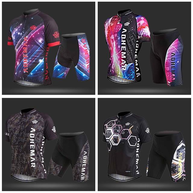 Adhemar men cycling set polyester cycling clothing men mtb full zipper bike clothes summer bicycle jersey set