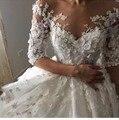 Саудовская Арабский Sexy Милая Бальное платье Свадебное Платье 2017 Белый Кружева Long Train Бисероплетение Аппликации Свадебные Платья Vestidos de noiva
