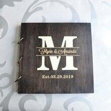 Custom Wedding Album Rustic Photo Guestbook Honeymoon Album, Personalized Wooden Family Album Wedding Guest Book Wedding Gift