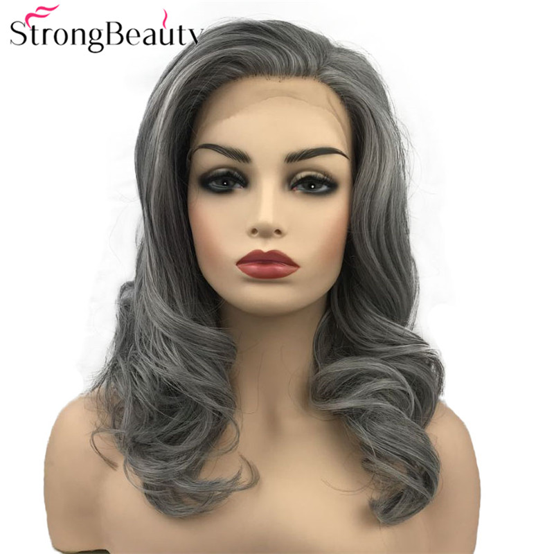 StrongBeauty Synthetic Lace Front Wig Long Wavy Wigs Grey Blonde Black Hair