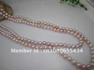 free shipping long freshwater pearl necklace jewelry 7-8MM 120CM purple color classic near round