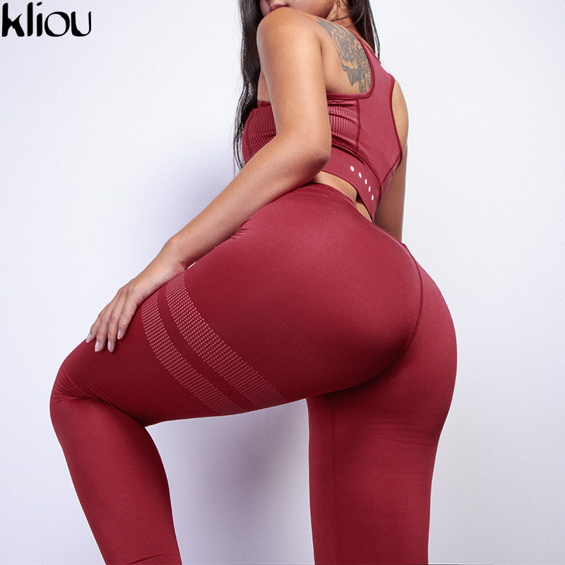 Kliou Women Fitness Two Piece Set Women Sexy Set Sporting Bra Sporting Top+long Workout Pants High-quality Workout Suits