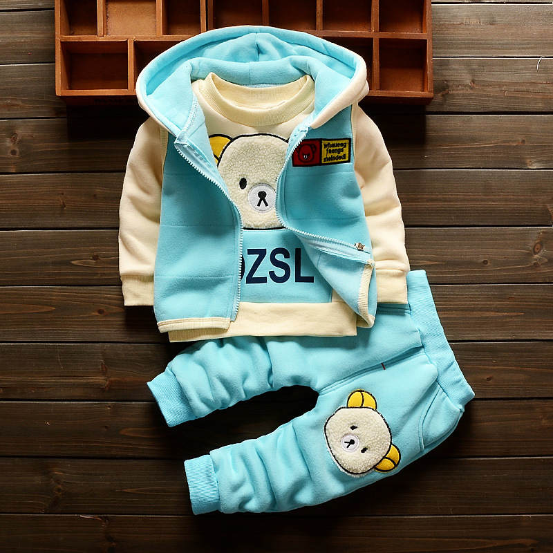 купить Baby Girl Winter Clothes Hot Sell Cartoon Bear Hooded Vest + Full Sleeved T-shirts Tops + Pants Outfits Kids Bebes Jogging Suits недорого