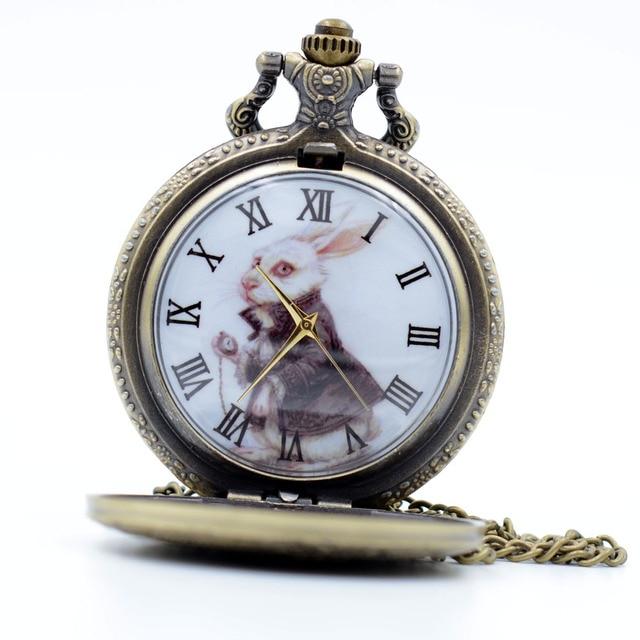 Vintage Bronze Alice in Wonderland The White Rabbit Color Dial Quartz Pocket Wat