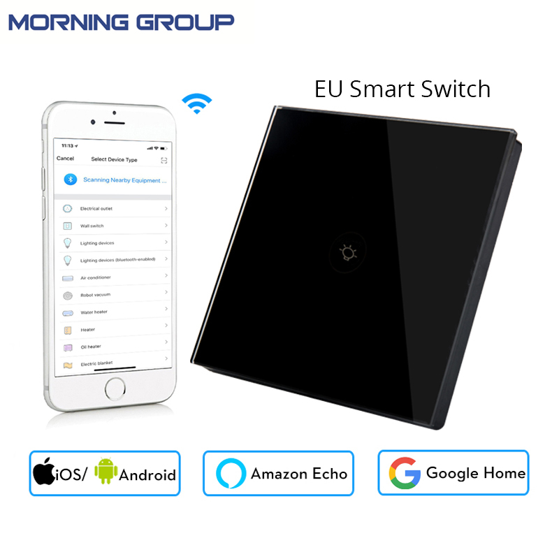 European Socket Wifi Smart Wall Touch Black Switch Mobile App Control Works with Amazon Alexa Google Home for Smart Life 1 Gang