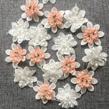 5pcs Vintage Satin Flowers Lace Trim White Pearl Sewing Beaded Wedding Flouwer Dress Ribbon Garment Fabric Embroidered Craft(China)