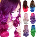 "New Long Curly Wavy Rainbow Wig Women's Costume Cosplay Heat Resistant Full Wigs 24"" 60cm Beautiful for Ladies Anime Show"