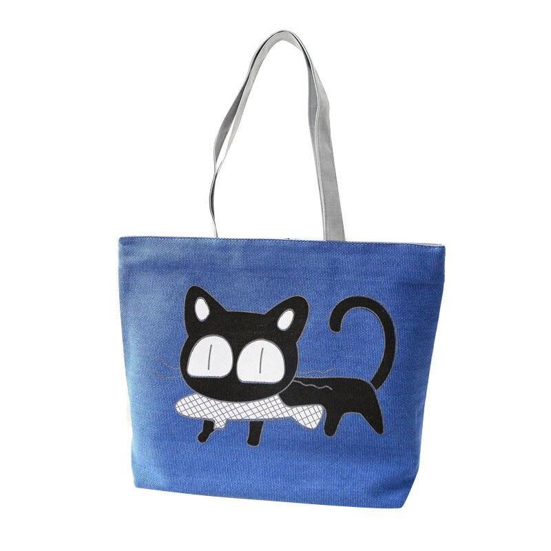 Moda de dibujos animados lindo cat bolso de la lona bolsas para mujeres bolsa de