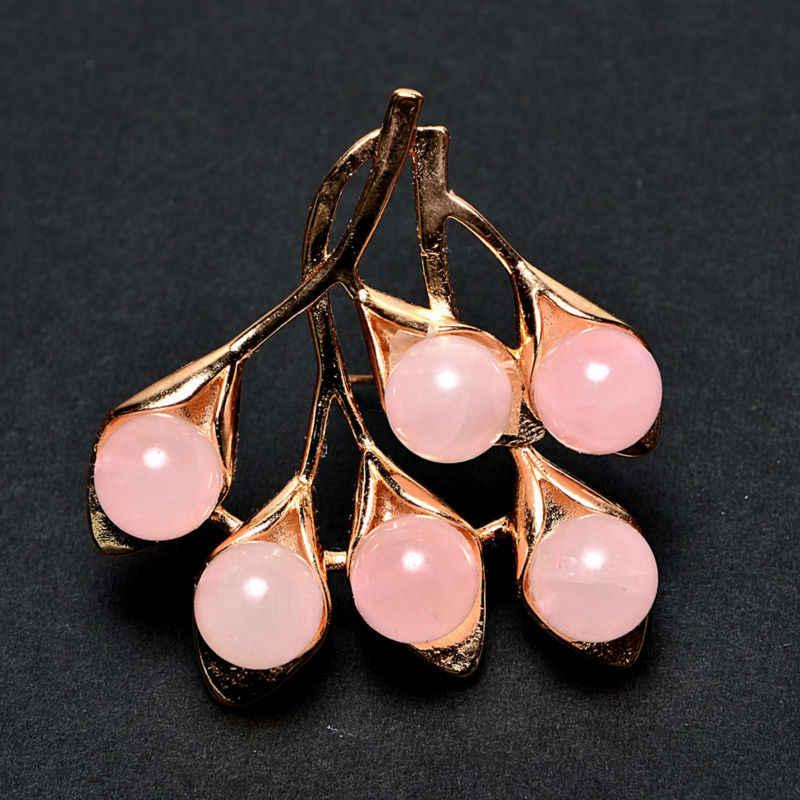 Jiuduo Wanita Pink Batu Alam Daun Sweater Dekorasi Rose Emas Tombol Bros Desain Pabrik Langsung Khusus Paket Mail