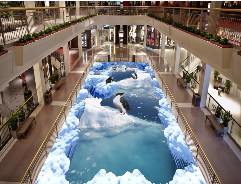 Modern Custom 3D floor mural Landscape iceberg penguins non-slip waterproof self-adhesive PVC Wallpaper free shipping 3d sky showroom wooden bridge living room walkway non slip self adhesive wear floor wallpaper mural