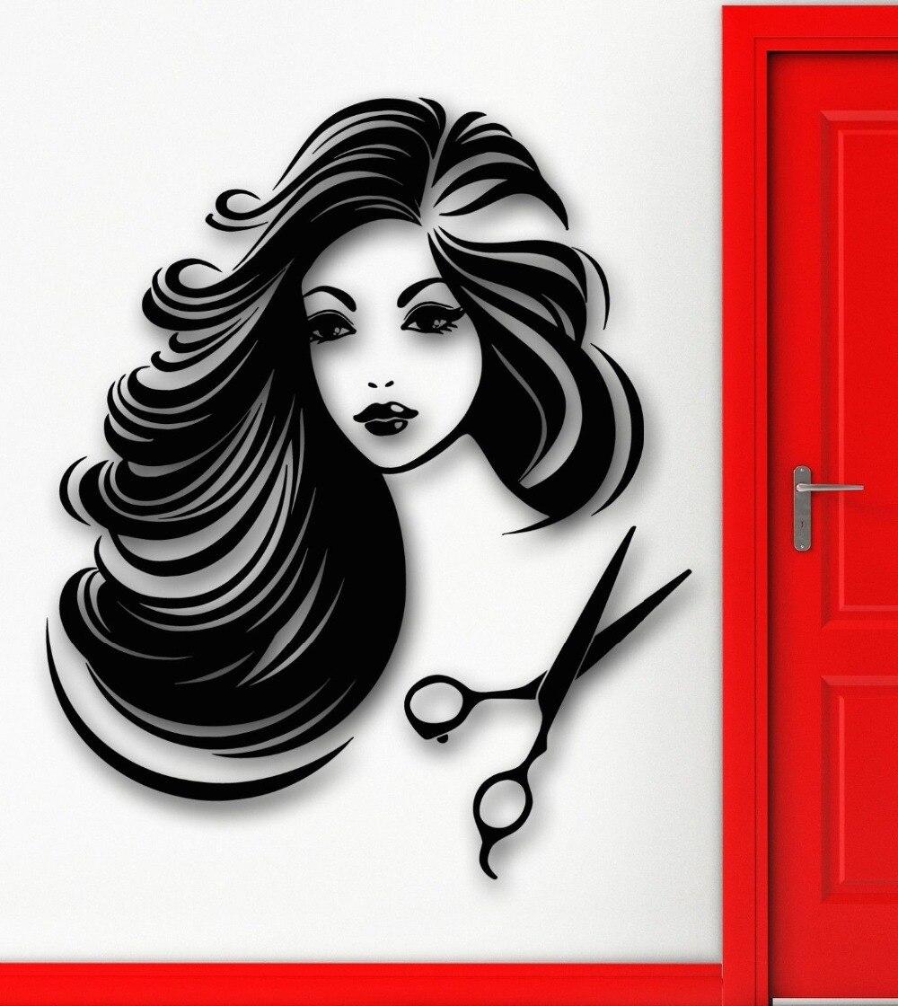 Beautiful salon girl vinyl wall sticker hot sexy for Salon wallpaper