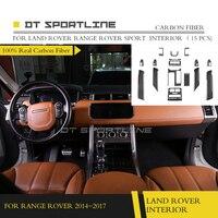 [11,11] карбоновое волокно 100% внутренняя отделка для Land Rover Range Rover sport стиль приборной панели комплект отделка 2017 2014 авто Стайлинг