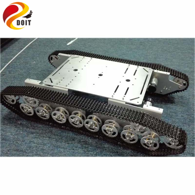DOIT RC Tank Chassis 4WD Metal Wall-E Tank Tracked Chassis Tracked Vehicle Mobile Platform with Robot Arm Interface Hole for DIY doit rc t300 metal wall e tank chassis