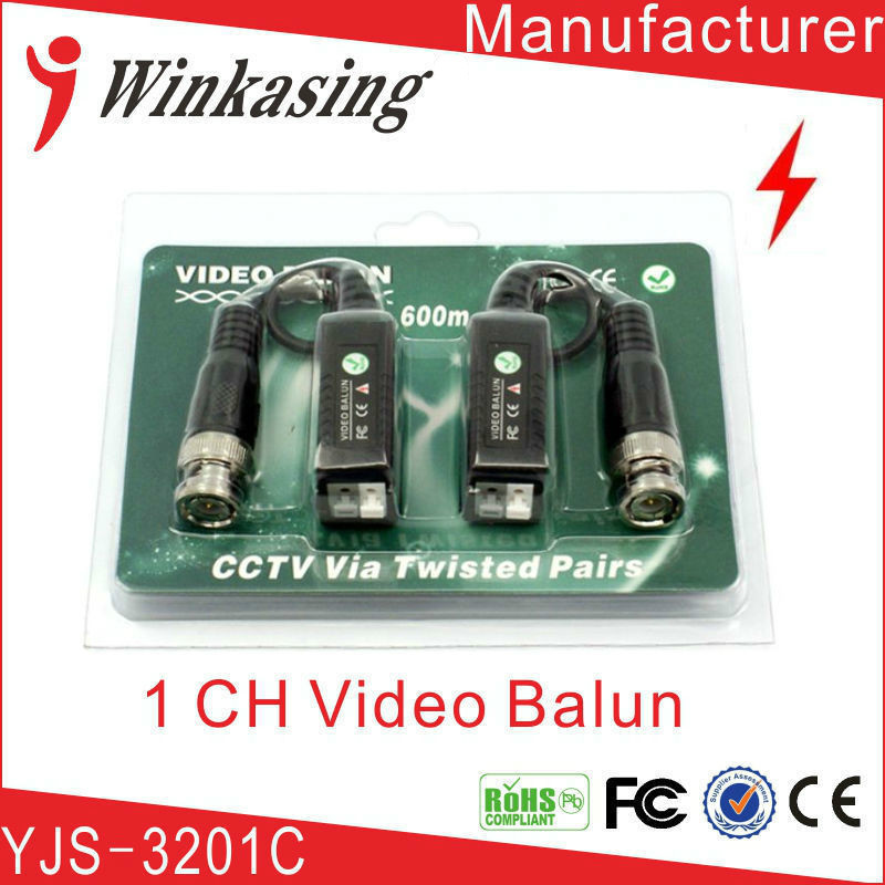 Twisted video balun passive UTP balun BNC CAt5 cctv twisted pair free shipping single channel passive video balun grey silver 2 pcs