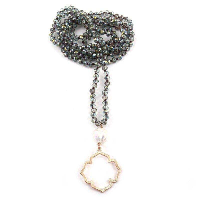 Mode Mini Kristall Glas Verknotet Kristall Ball Link Metall Blume Tropfen Anhänger Halskette