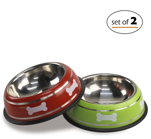 stainless steel bowl colorful cute dog bowl or cat dish with non