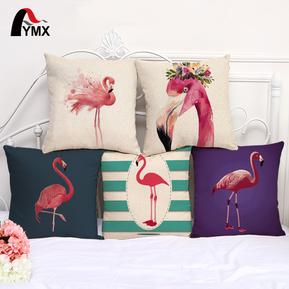 Retro Flamingo Print Cotton and Mats Funda de cojín para sofá Funda de almohada Home Office Cafe Funda de almohada Decoración decorativa
