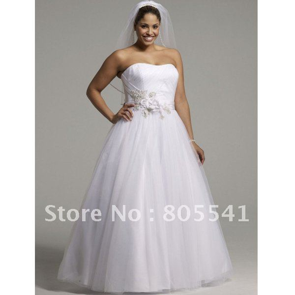 NEW! A line Strapless Simple White Tulle Satin Cheap Plus Size ...