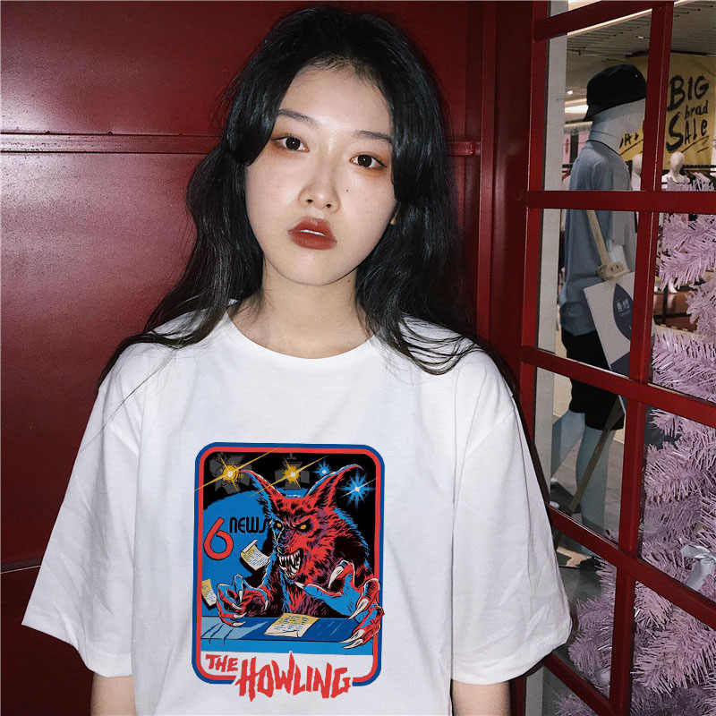 THE HOWLING Print Vintage New Summer  Women Tshirt Short Sleeve Let's Summer Demons Graphic Harajuku Tumblr T shirt Women tops