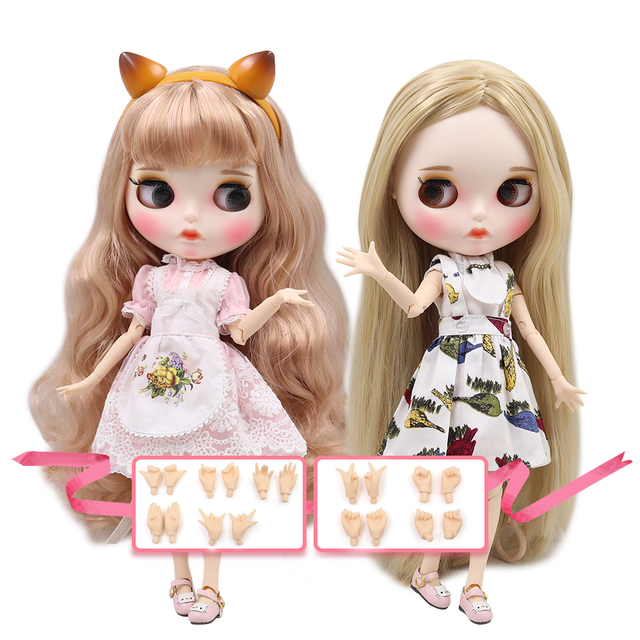 Blyth Doll Joint Body DIY BJD ICY toys New matte shell white skin Fashion Dolls gift Special Offer with hand set A&B