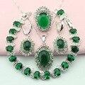 Verde Sistemas de La Joyería Para Las Mujeres Pendientes de Piedra de Color Plata Con Piedras Pendientes/Pulsera/Pendiente/Collar/anillo de Caja de Regalo Libre