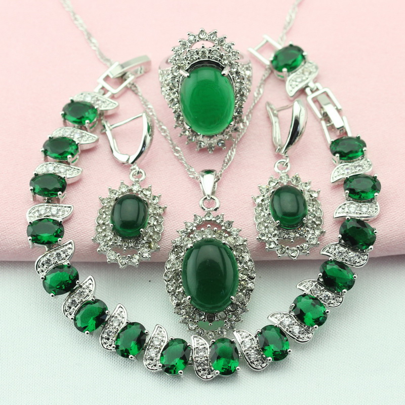 WPAITKYS Elegant Oval Green Cubic Zirconia Silver Color Jewelry Sets For Women Earrings With Stones Drop Bracelet Pendant Ring