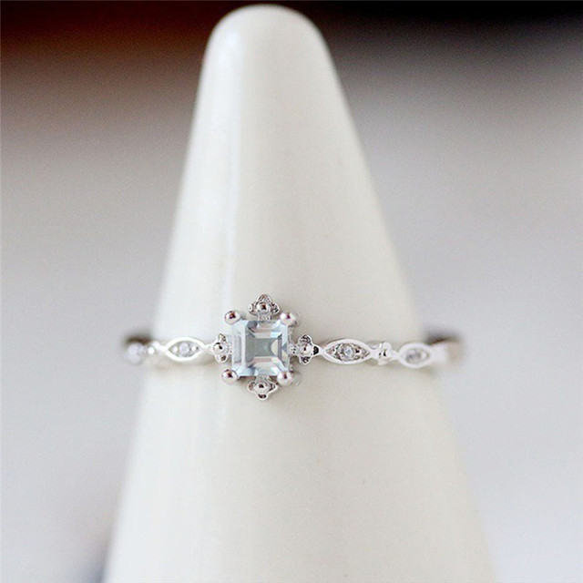 ROMAD Dainty Ring for Ladys Geometric Blue Crystal Wedding Band Simple Korean Engagement Finger Ring