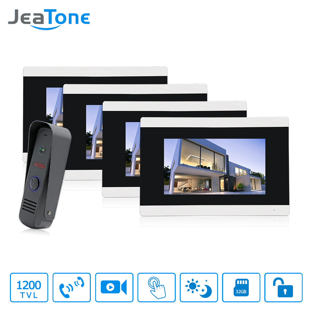 Jeatone 7 Touch Screen Wired Video Door Phone Doorbell Home Intercom System IR RFID Camera with Motion Detection Alarm jeatone 7 lcd monitor wired video intercom doorbell 1 camera 2 monitors video door phone bell kit for home security system