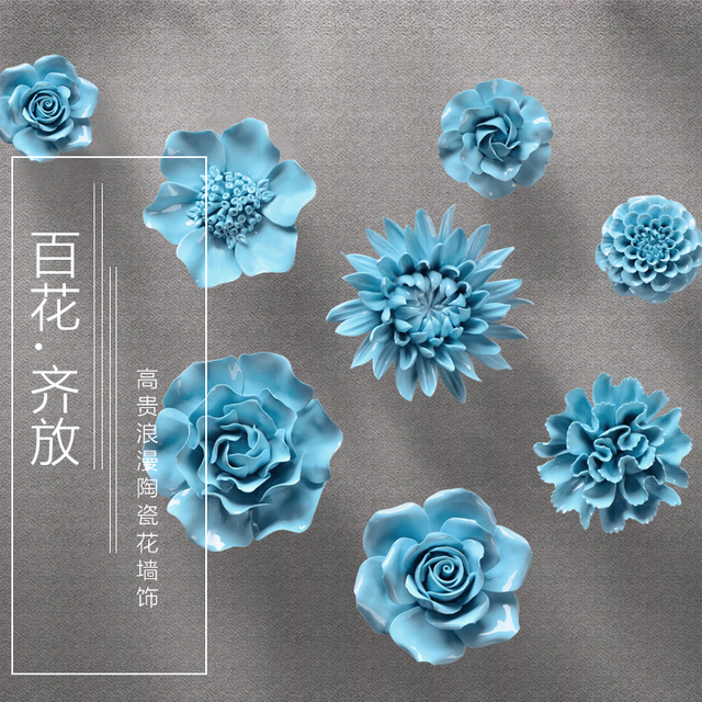 Синий Пион Роза декоративные настенные цветок посуда фарфор декоративные тарелки старинные домашнего декора ремесленных ремесел украшения комнаты