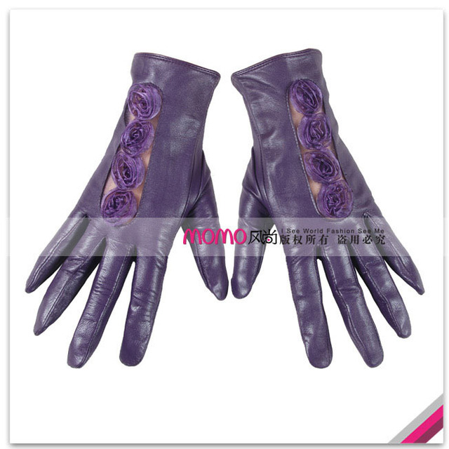 Woma warmen 's top suede lace cutout flower women's genuine leather gloves l014n-1