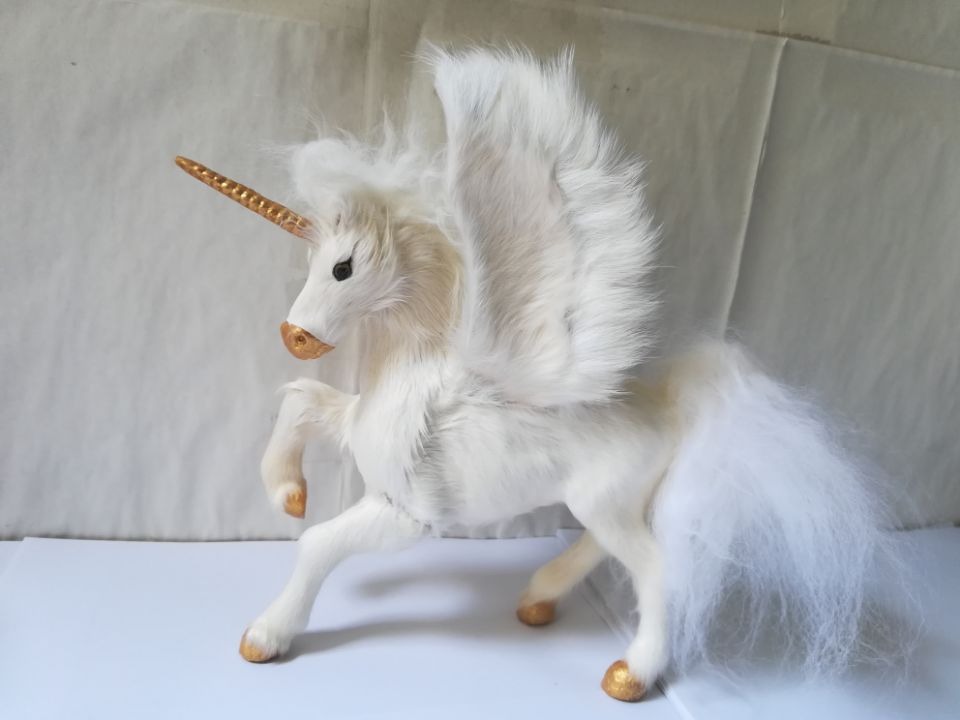 Grand 23x20 cm plastique & fourrure blanc licorne modèle dur artisanat décoration de la maison jouet cadeau w0622