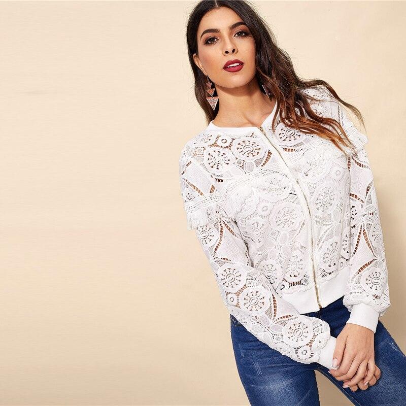 Sheinside White Elegant Hollowed Out Lace Jacket Women 19 Back Frayed Edge Detail Jackets Ladies Fringe Zip-up Lace Outwear 16