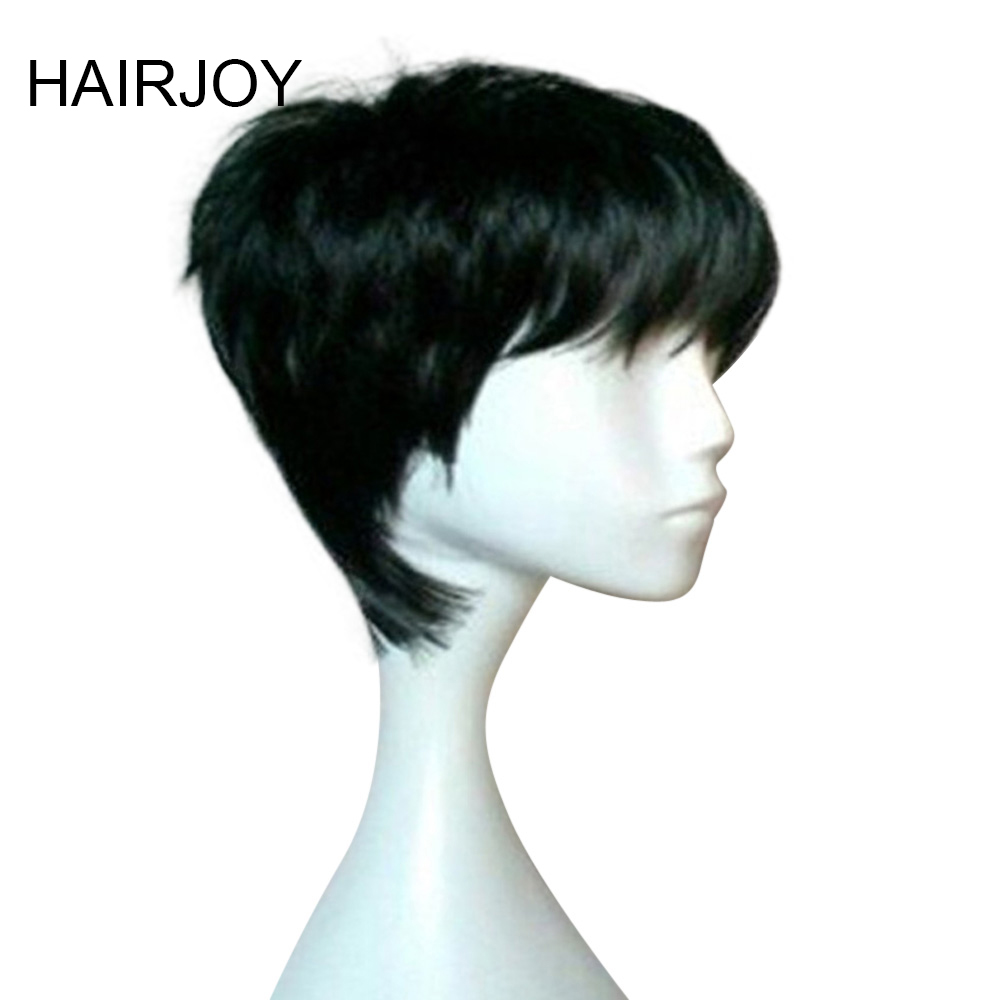 Hairjoy Black Short Straight  Heat Resistant Synthetic Hair Woman Natrural Dailiy Life Wig Free Shipping