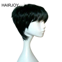 HAIRJOY Woman Pixie Hairstyle Black Brown Blonde  3 Colors Short Straight Heat Resistant Synthetic Wig Free Shipping