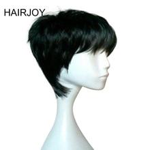 HAIRJOY Black Short Straight  Heat Resistant Synthetic Hair Woman Natrural Dailiy Life Wig Free Shipping цена