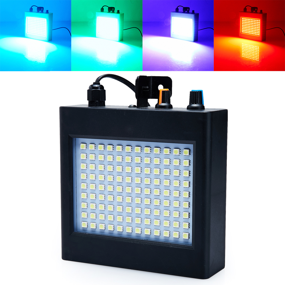 Mini lydstyring Auto 108RGB LED Disco Party DJ Bar Lys LED Stroboscope Musik Show Projektor Scenebelysningseffekt Sort
