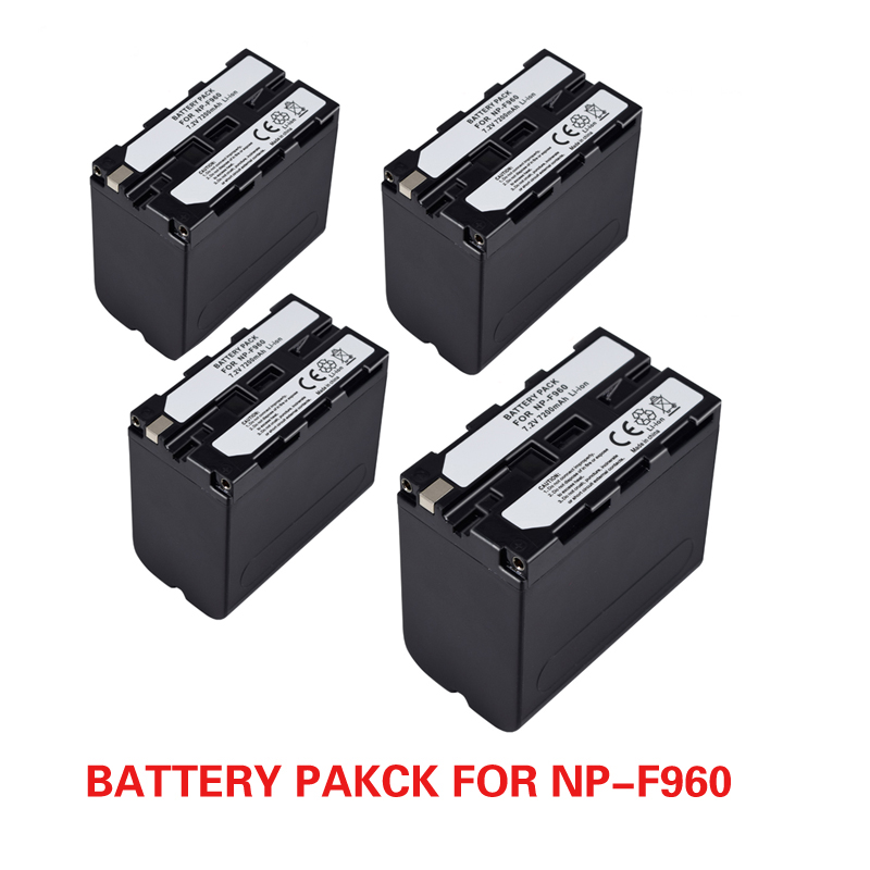 4pcs 7.2V 7200mAh Rechargeable Digital Battery NP F960 F970 for Sony NP-F960 NP-F970 Camera недорого