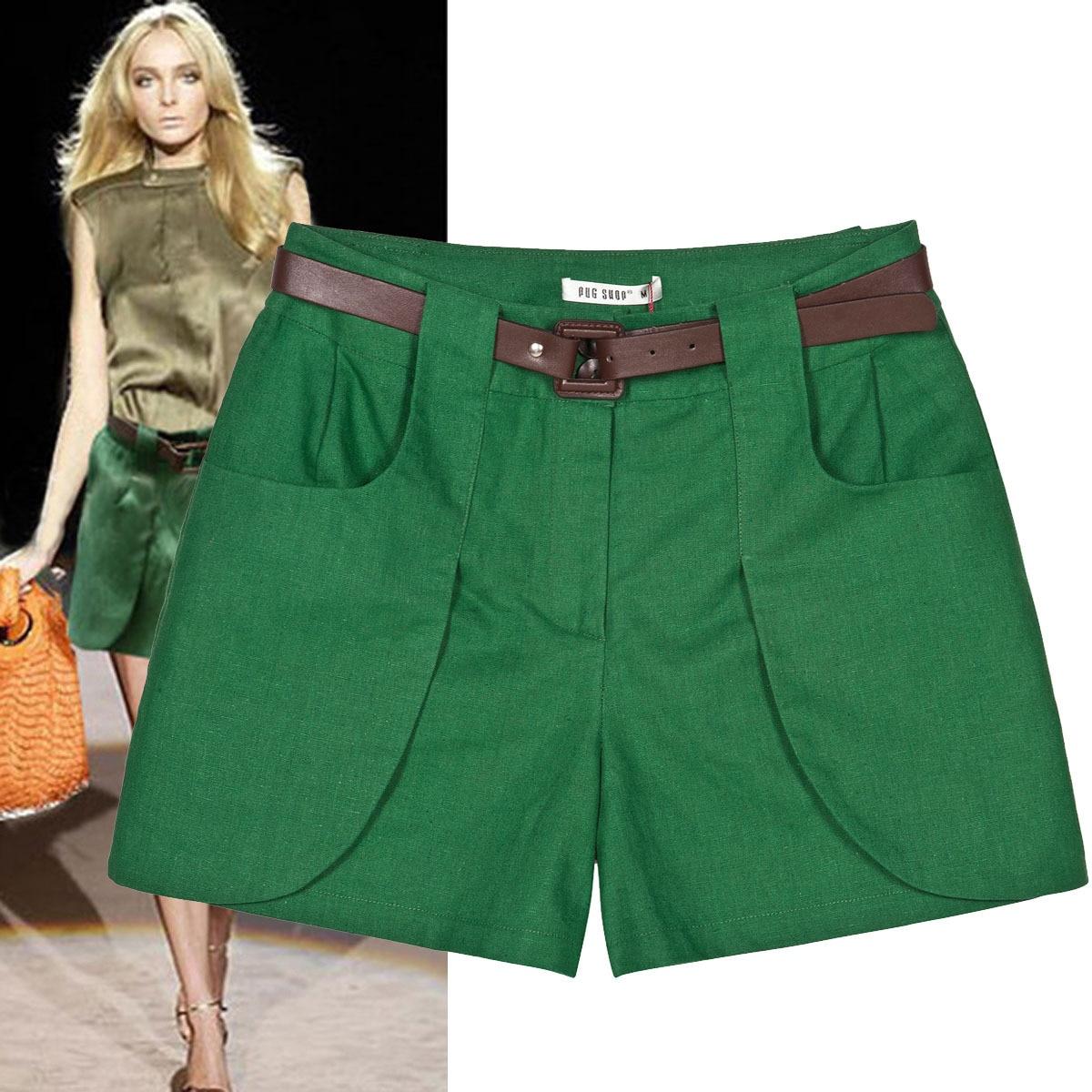 New women's fashion runway green linen cotton   shorts   female loose plus size   shorts