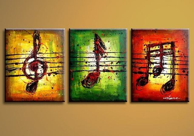 100% Handmade Oil Painting On Canvas Abstract Music Notation Pictures Home  Decor 3 Panel Wall