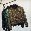 Блестки женский костюм осень dress мода Корейских тонкий девушки куртка бар партия shitr для певица танцор star производительности шоу