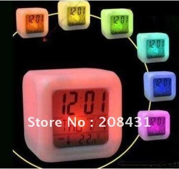 Digital Alarm Clock and Temp Glowing LED Change 7 Color  2pcs/lot Free shipping