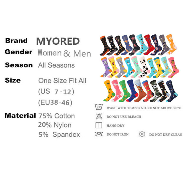 MYORED 1 pair men socks cotton funny crew socks cartoon animal fruit dog women socks novelty gift socks for spring autumn winter