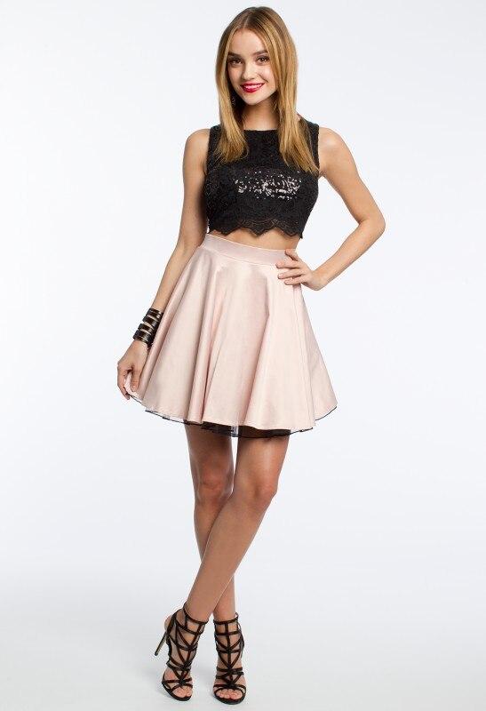 Aliexpress.com Comprar Dos Tonos Vestidos Cortos para adolescentes 2017  Negro Cordón de la Tapa de Lentejuelas de Dos Piezas de Baile Vestidos de  Fiesta de
