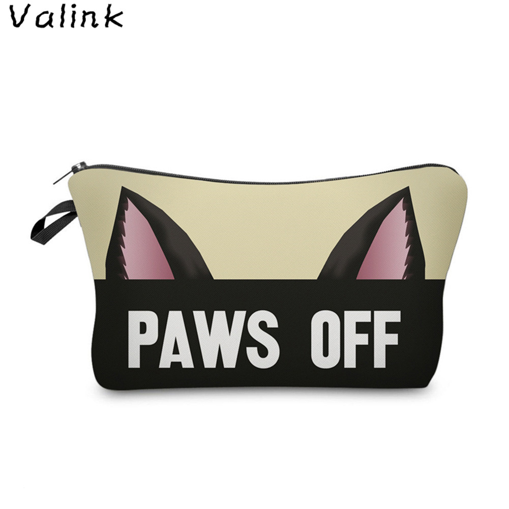 Valink 2017 New Zipper Cosmetic Bag Cute Cat Ears Letters Printing Women Travel Organizer Pouch Storage Makeup Bag Necessaire