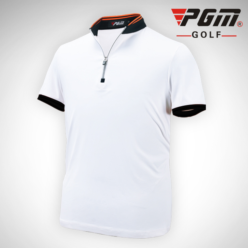 PGM Golf Clothing Mens Golf Polo shirts Summer Breathable Elastic Golf Short Sleeved Uniforms White Orange Blue Plus Size 2016