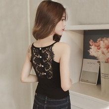 Newly Sexy Backless Hollow Out Lace Camis Top Women Lace Hem V Neck Sleeveless Tank Top Ladies Underwear Women 2019 New Fashion stylish v neck lace openwork tank top for women