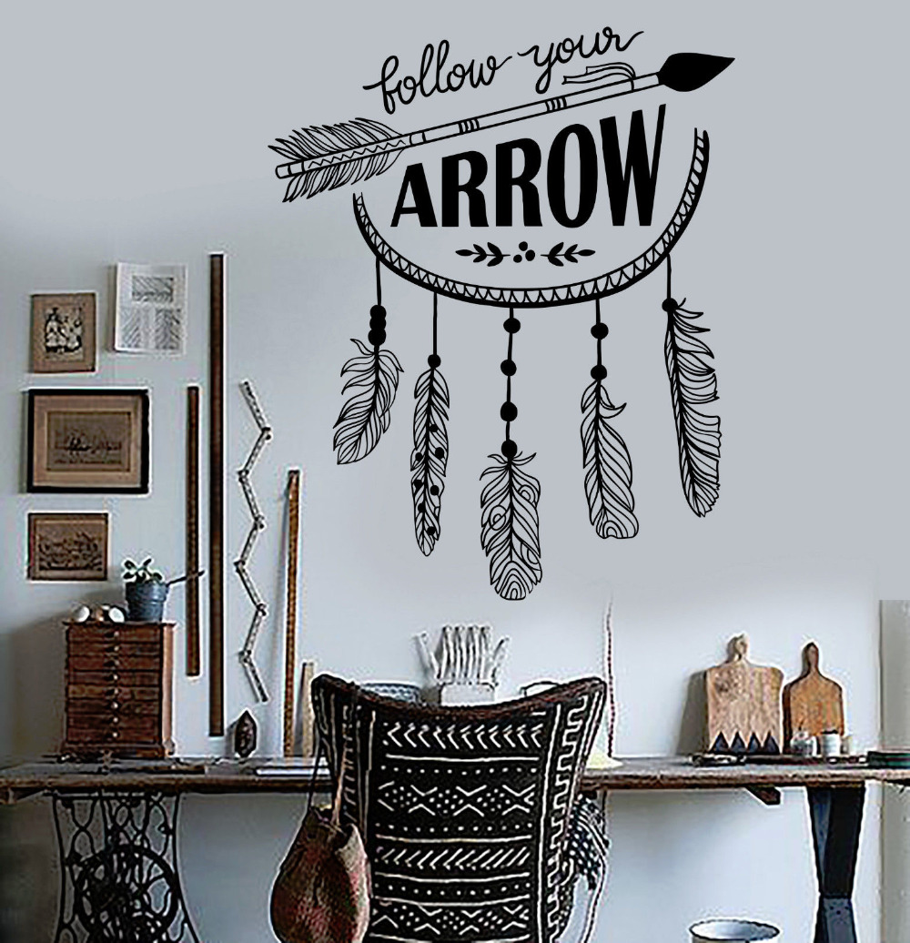 New Arrival Vinyl Wall Decal Arrow Quote Feathers Ethnic Style Livingroom Sticker Large Hall Wall Mural Art Interior Decor La779 Interior Decor Decorating Stylevinyl Wall Decals Aliexpress