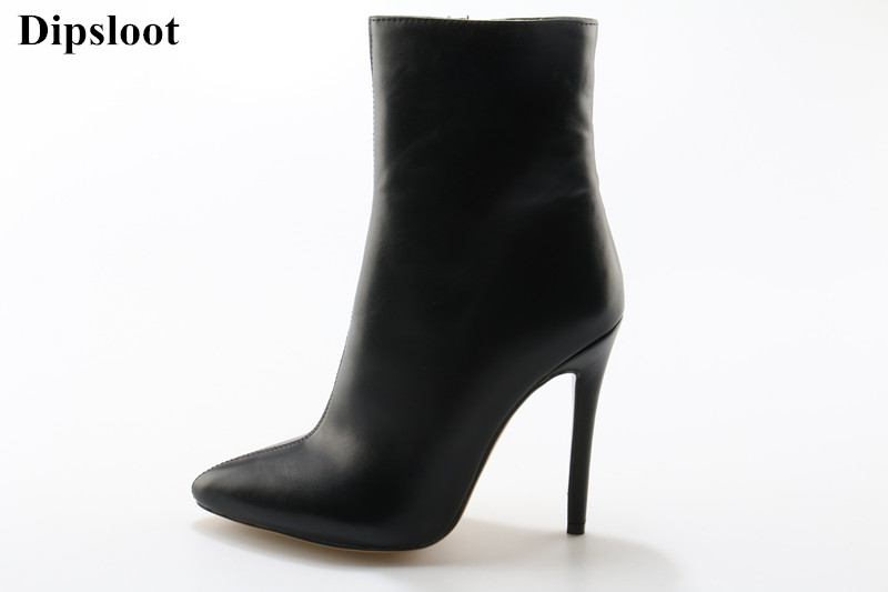 Dipsloot 2018 Woman Solid Black Side Zipper Ankle Boots Sexy Pointed Toe Shoes Woman Stiletto High Heels Dress Party Shoes the latest metal zipper embellished woman summer sandals peep toe stiletto high heels dress party shoes woman side zipper shoes